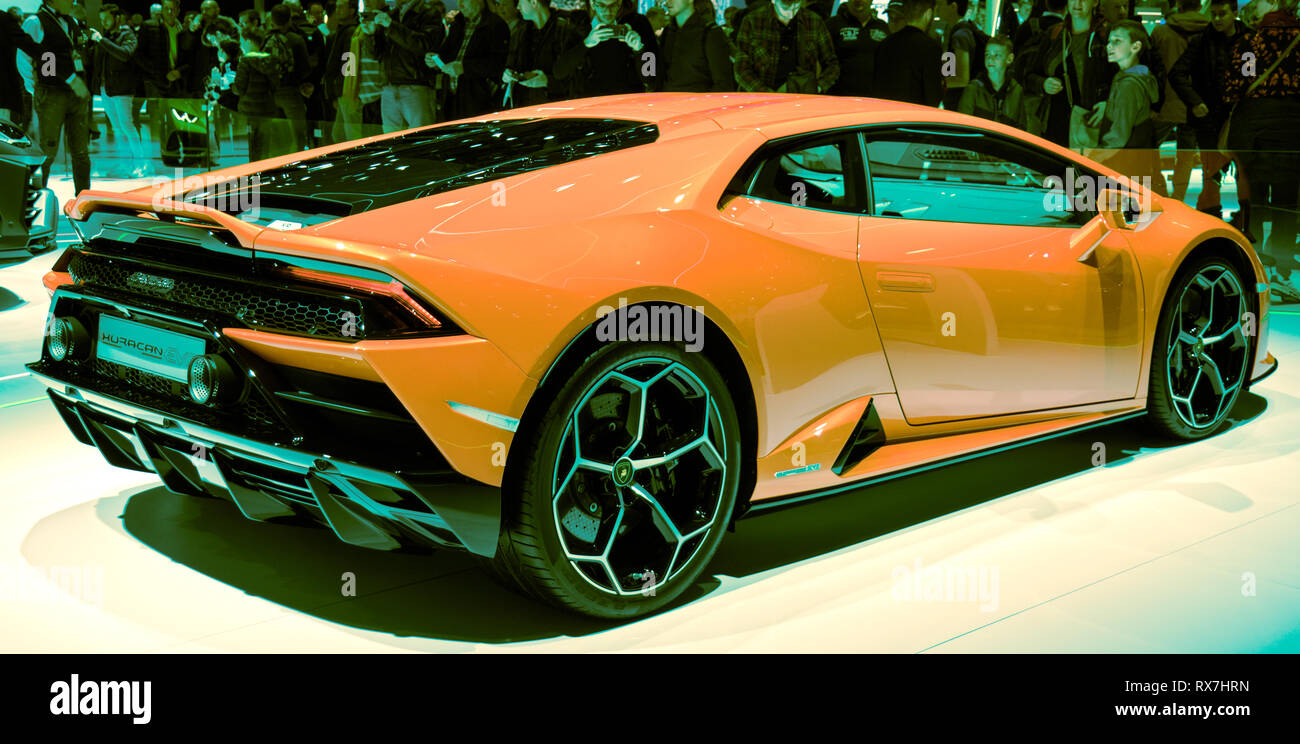 Geneva, Switzerland - 03/08/2019: Geneva Motor Show 2019 Lamborghini huracan Sports Car - Stock Image