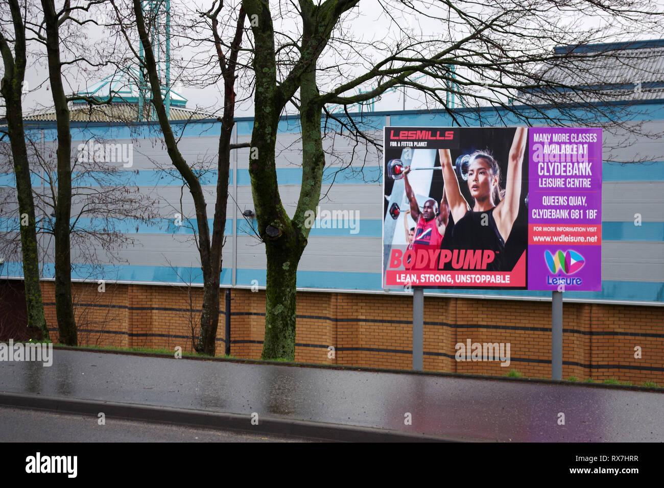 Clydebank Leisure Centre billboards - Stock Image