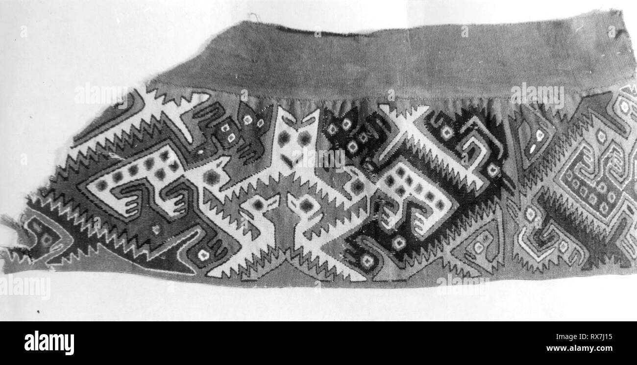 Fragment. Probably north coast, Peru. Date: 1000-1476. Dimensions: 25.4 x 11.4 cm (10 x 4 1/2 in.). Slit tapestry border attached to brown plain cloth. Origin: Peru. Museum: The Chicago Art Institute. - Stock Image