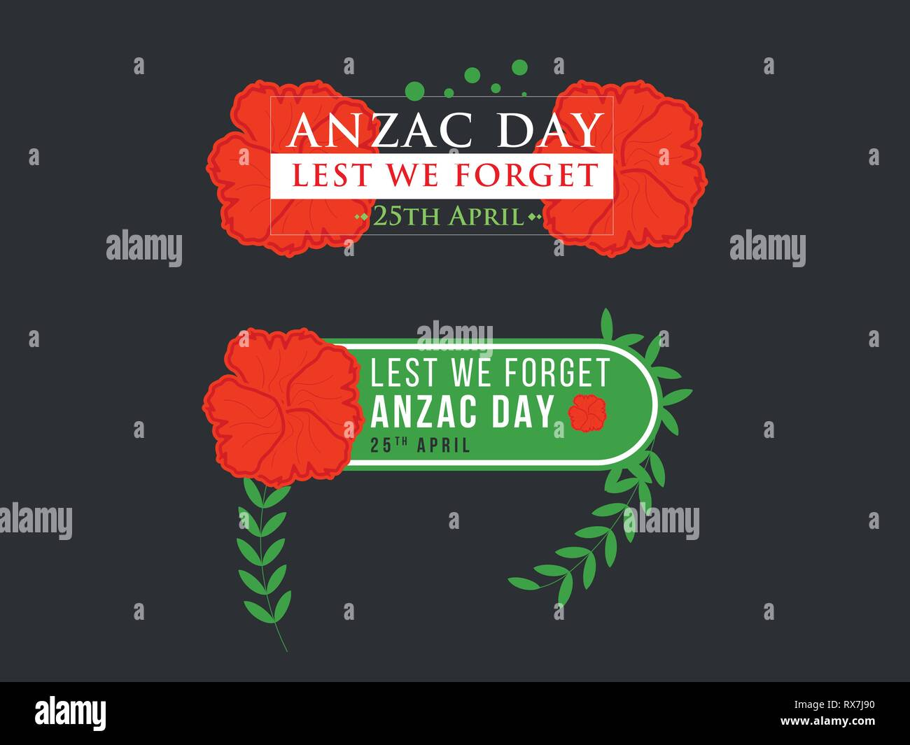 Anzac Day Illustration with nice red poppy flower background - Stock Vector