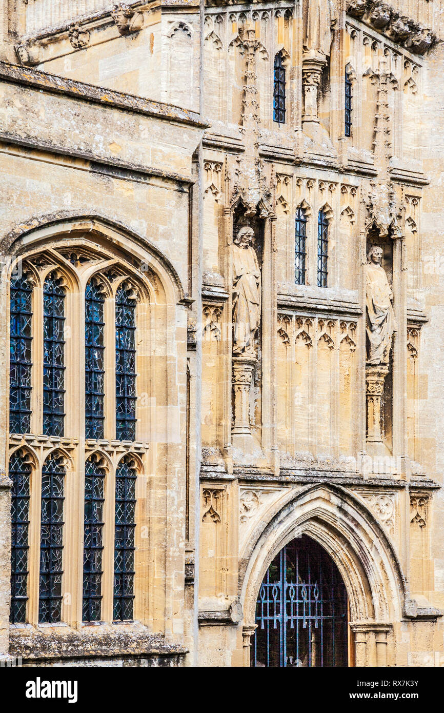The facade of St.John the Baptist church in Burford, Oxfordshire. - Stock Image
