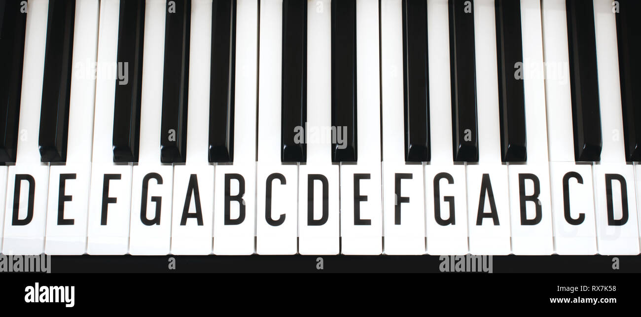 Top-down view of piano keyboard keys with letters of notes of the scale superimposed as a music cheat sheet for a new learner - Stock Image