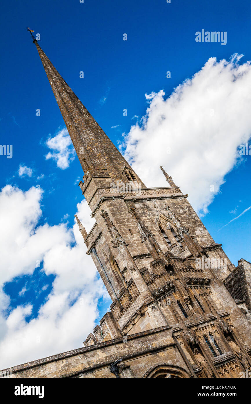 St.John the Baptist church in Burford, Oxfordshire taken at a dynamic angle. - Stock Image