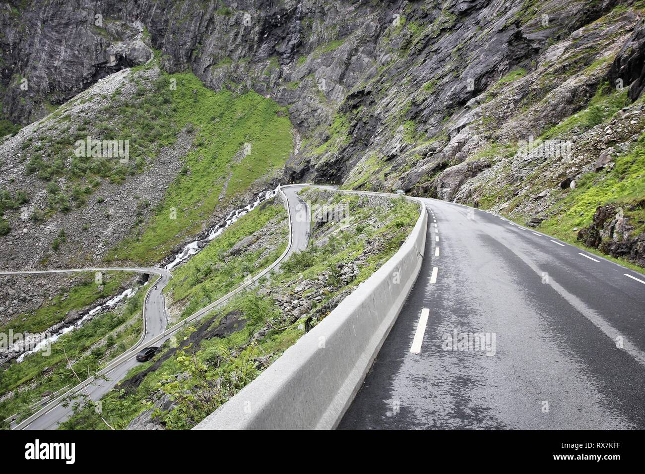 Troll Road, Norway - dangerous mountain road with hairpin curves. - Stock Image