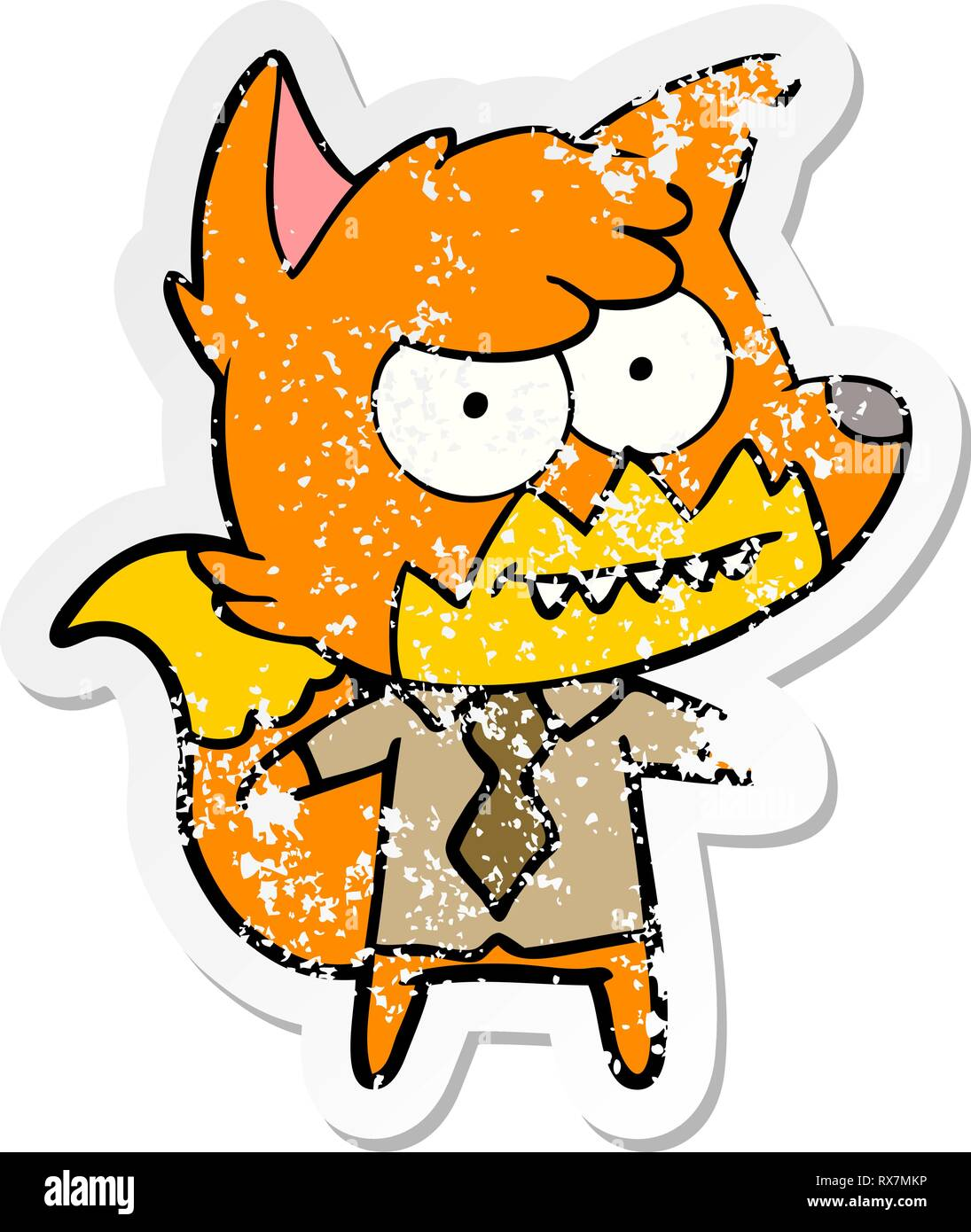 distressed sticker of a cartoon grinning fox - Stock Image
