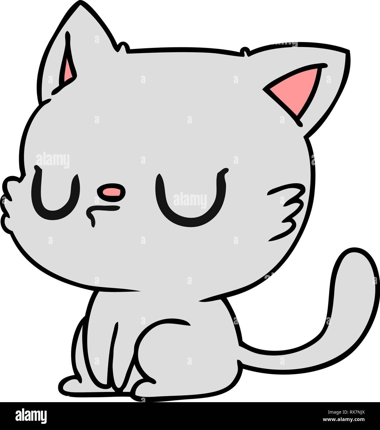 Freehand Drawn Cartoon Of Cute Kawaii Cat Stock Vector Image Art