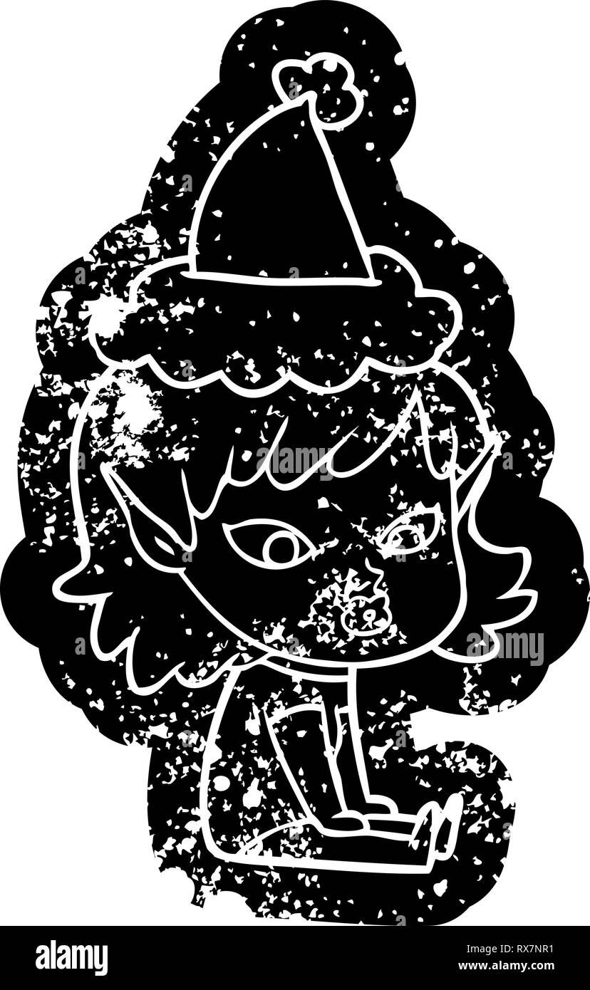 c233445f68372 pretty quirky cartoon distressed icon of a elf girl wearing santa hat -  Stock Image