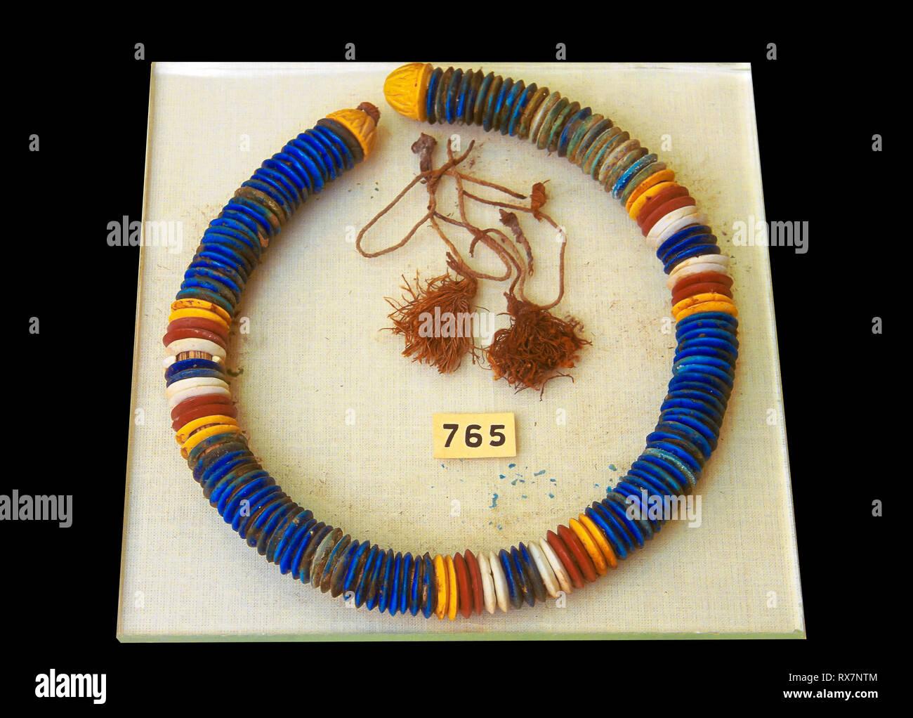 Necklace. Tutankhamun's treasure. Museum of Egyptian Antiquities. Cairo. Egypt. Africa - Stock Image