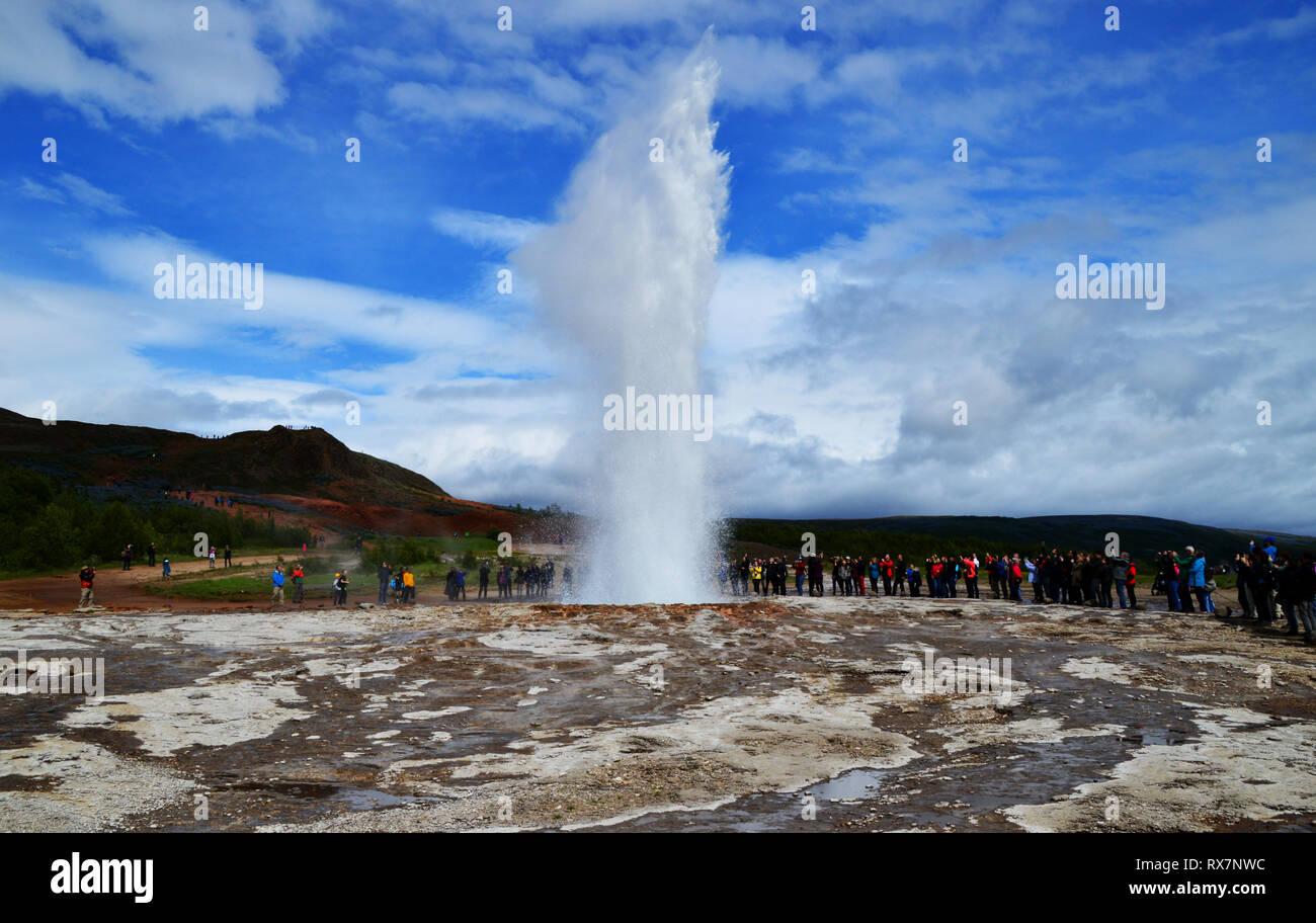 Strokkur geyser erupting in Haukadalur valley, Iceland. Stock Photo