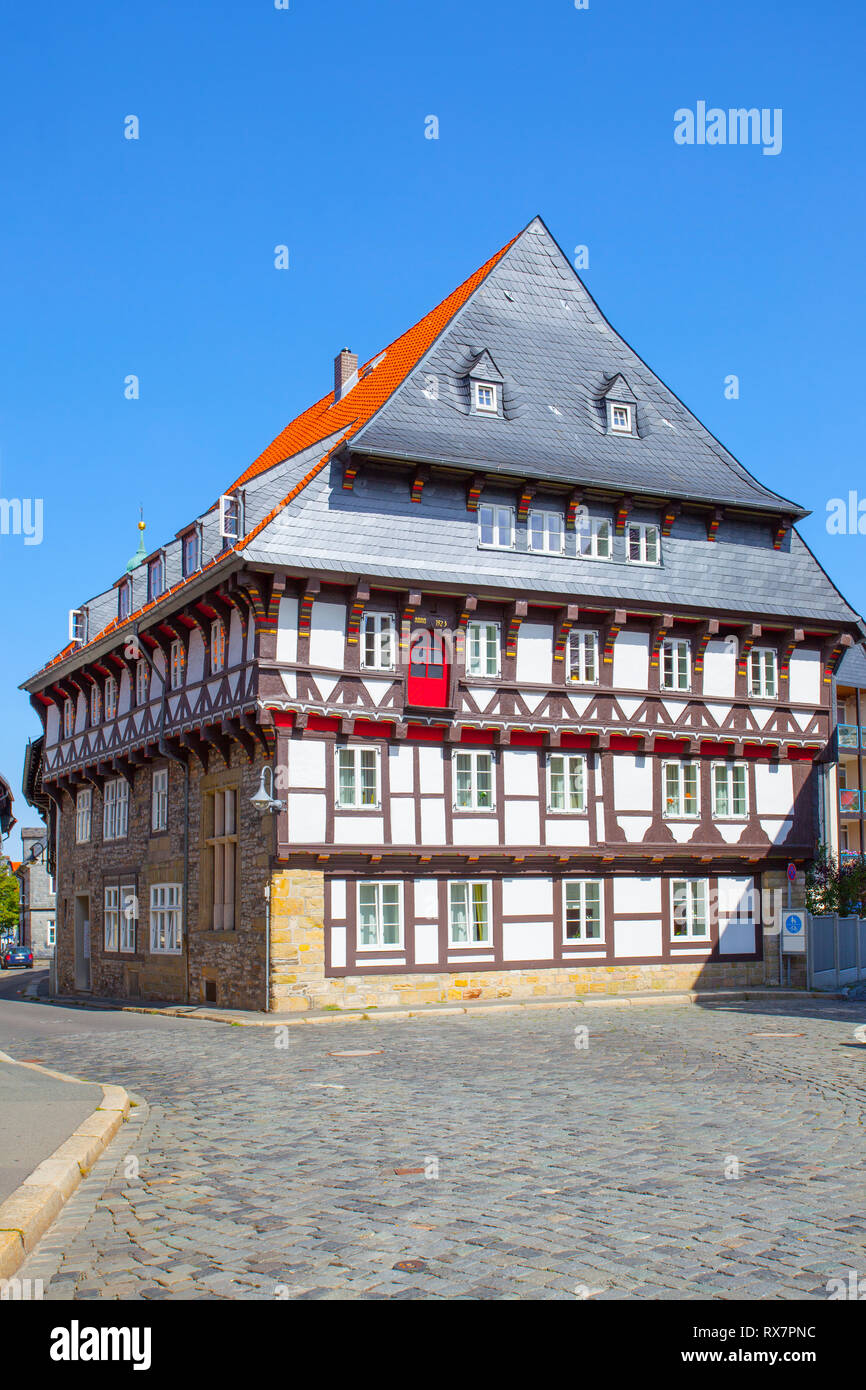 Old half-timbered house in Goslar, Germany - Stock Image