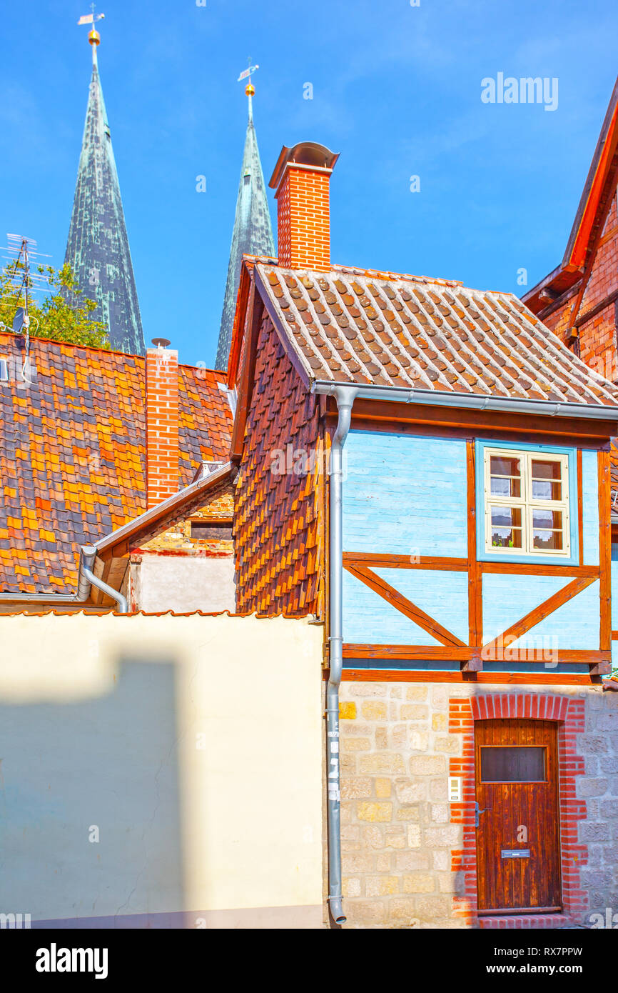 Amusing small half-timbered house in Quedlinburg, Germany - Stock Image