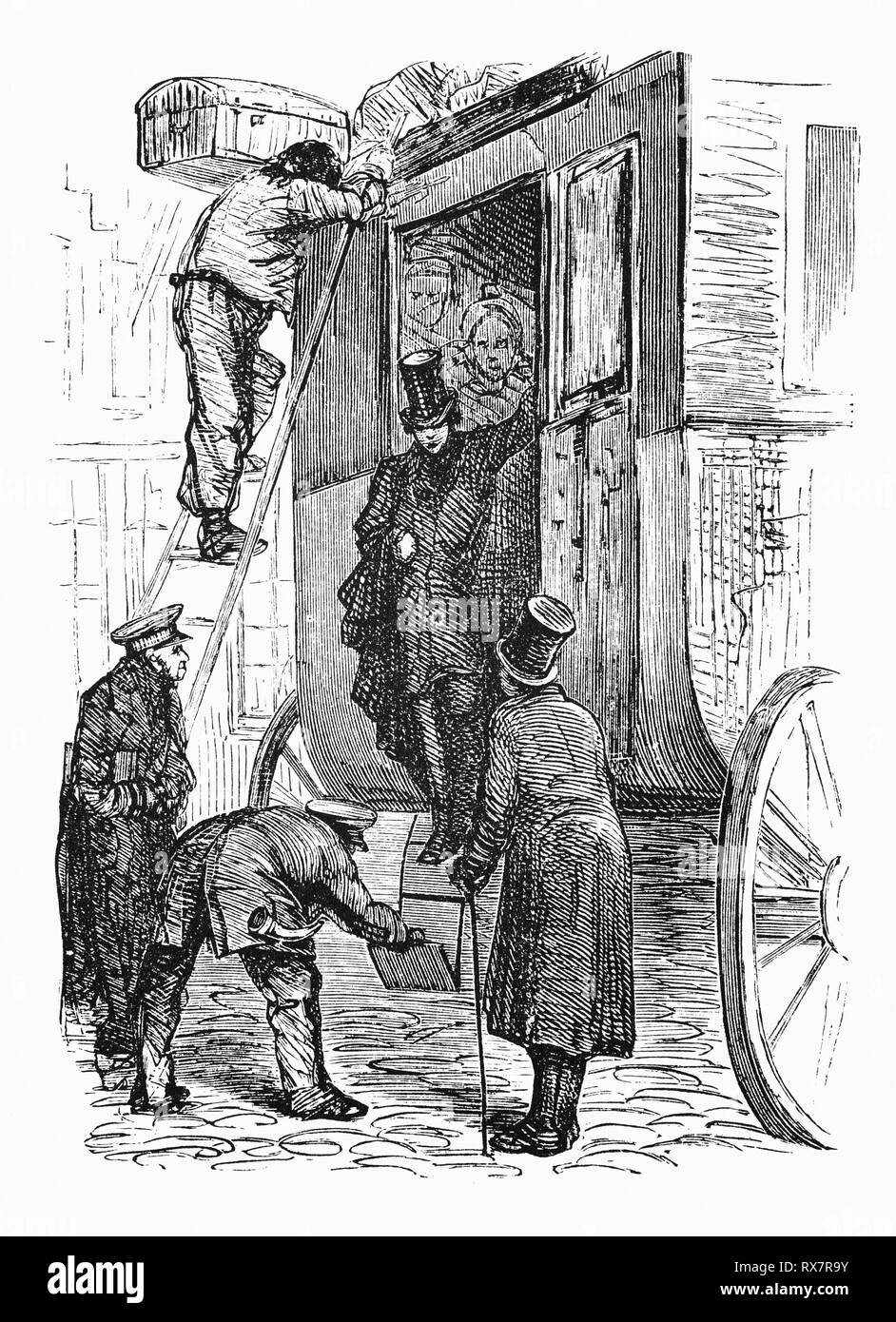 After travelling by stage coach, Hildebrand arrives to visit uncle and aunt Stastok in the Netherlands. In his short time as a guest of the family, he views and experiences their daily life. From the 19th Century Camera Obscura, a collection of Dutch humorous-realistic essays, stories and sketches in which Hildebrand, the author, takes an ironic look at the behavior of the 'well-to-do', finding  them bourgeois and without a good word for them. - Stock Image