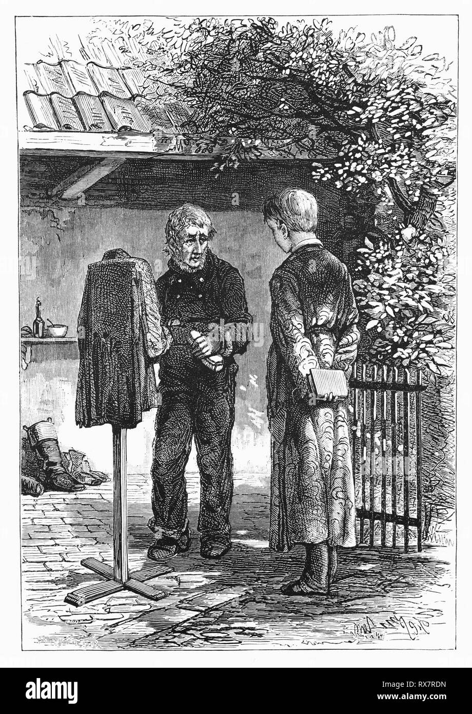 Keesje, The Deacon House Man tells his sad story to Hildebrand. From the 19th Century Camera Obscura, a collection of Dutch humorous-realistic essays, stories and sketches in which Hildebrand, the author, takes an ironic look at the behavior of the 'well-to-do', finding  them bourgeois and without a good word for them. - Stock Image