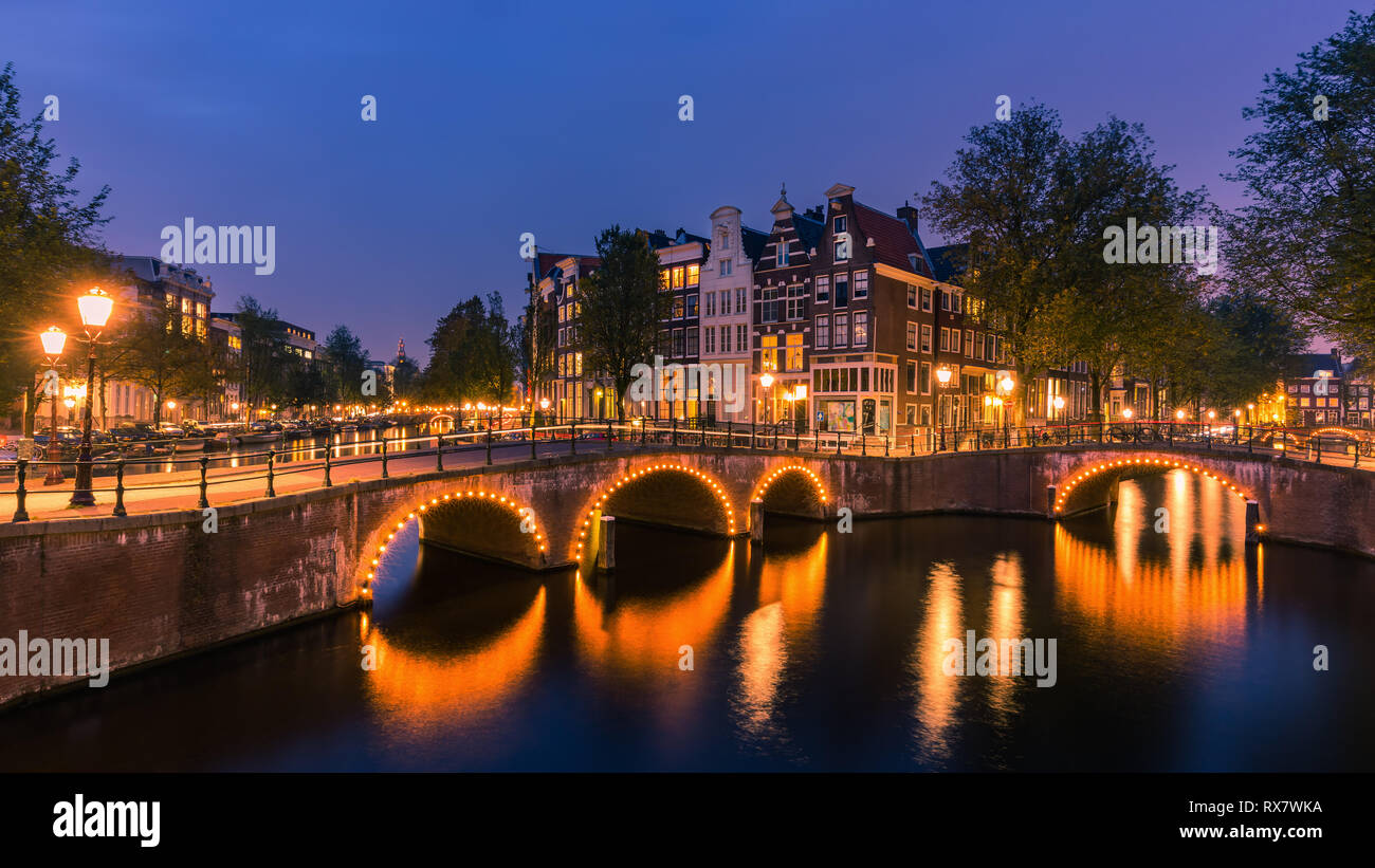 An evening in Amsterdam with the view from the Keizersgracht. Stock Photo