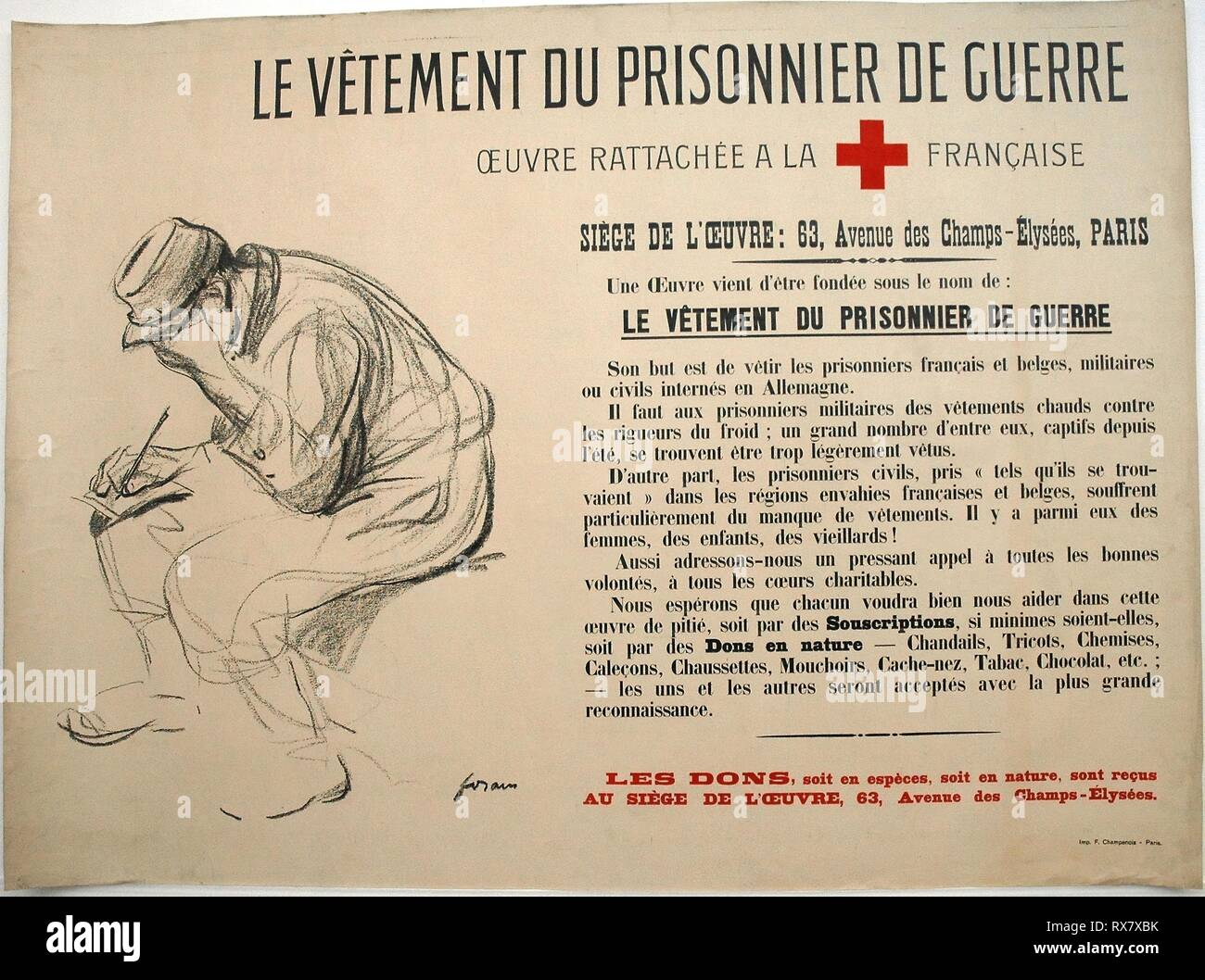 The Clothing of the Prisoner of war. Jean Louis Forain (French, 1852-1931); Printed by F. Champenois. Date: 1910-1920. Dimensions: 779 × 1049 mm. Color lithograph on cream wove paper laid down on linen. Origin: France. Museum: The Chicago Art Institute. - Stock Image