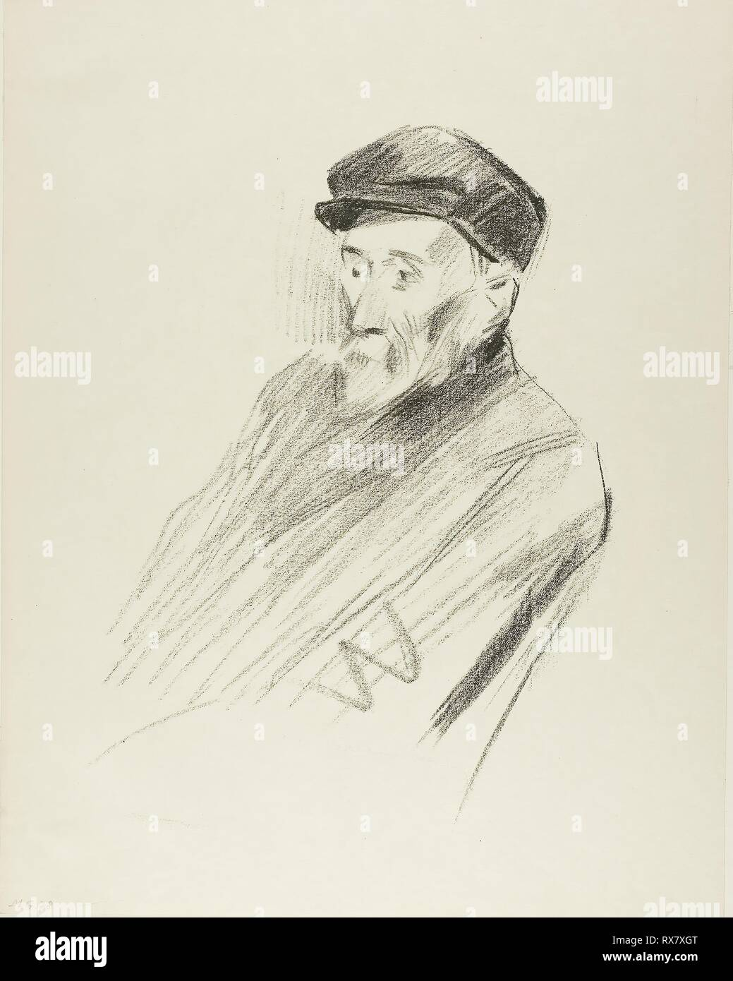 Portrait of Renoir, Third Plate. Jean Louis Forain; French, 1852-1931. Date: 1905. Dimensions: 272 × 202 mm (image); 351 × 276 mm (sheet). Lithograph on cream wove paper. Origin: France. Museum: The Chicago Art Institute. - Stock Image