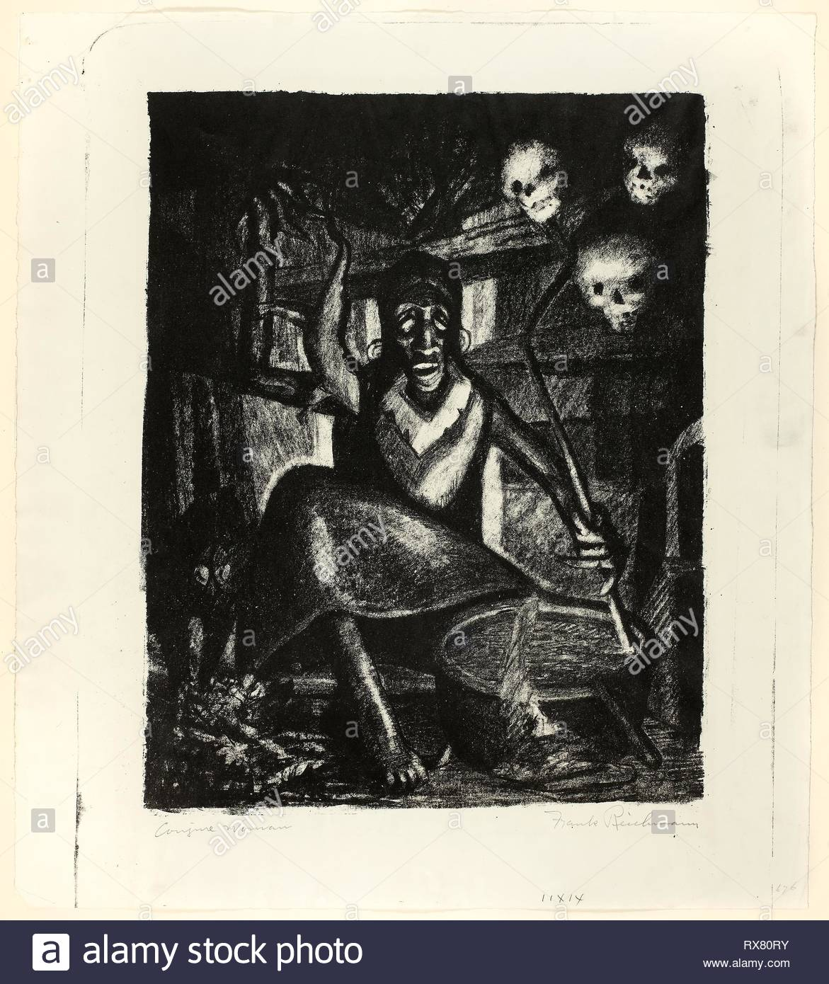 Conjure Woman. Frank Reichmann (American, 1913-1960); published by the Works Progress Administration. Date: 1935-1942. Dimensions: 353 x 278 mm (image); 445 x 395 mm (sheet). Lithograph on paper. Origin: United States. Museum: The Chicago Art Institute. - Stock Image