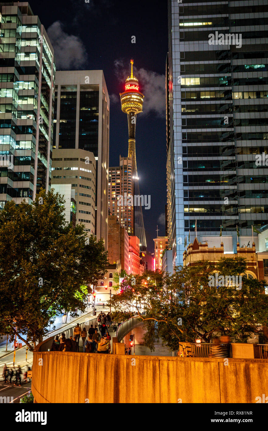 23rd December 2018, Sydney NSW Australia : Vertical night view of Sydney tower eye from market street with people in Sydney NSW Australia - Stock Image