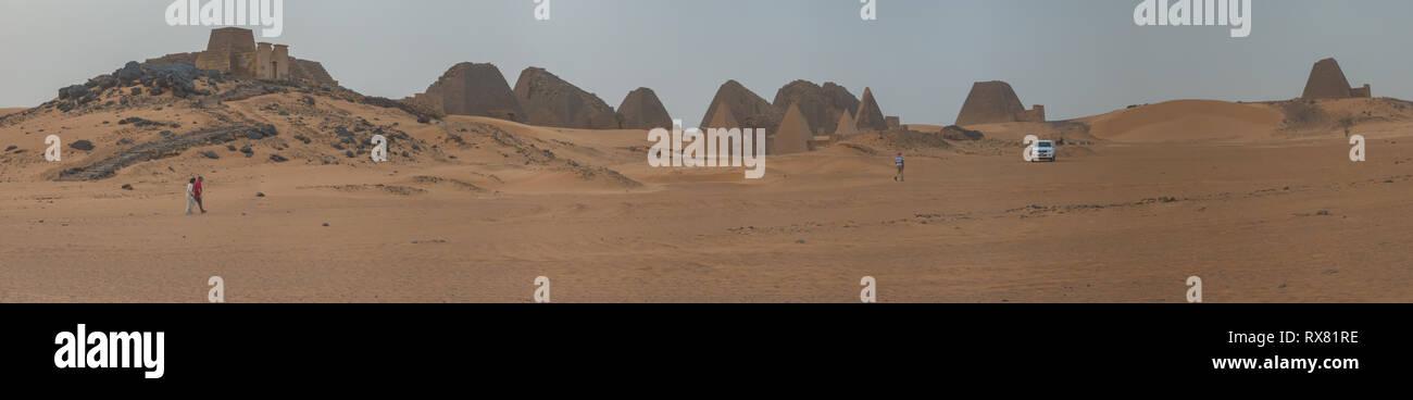 Meroe, Sudan, February 10., 2019: Panorama of the pyramids of Meroe, Sudan. - Stock Image