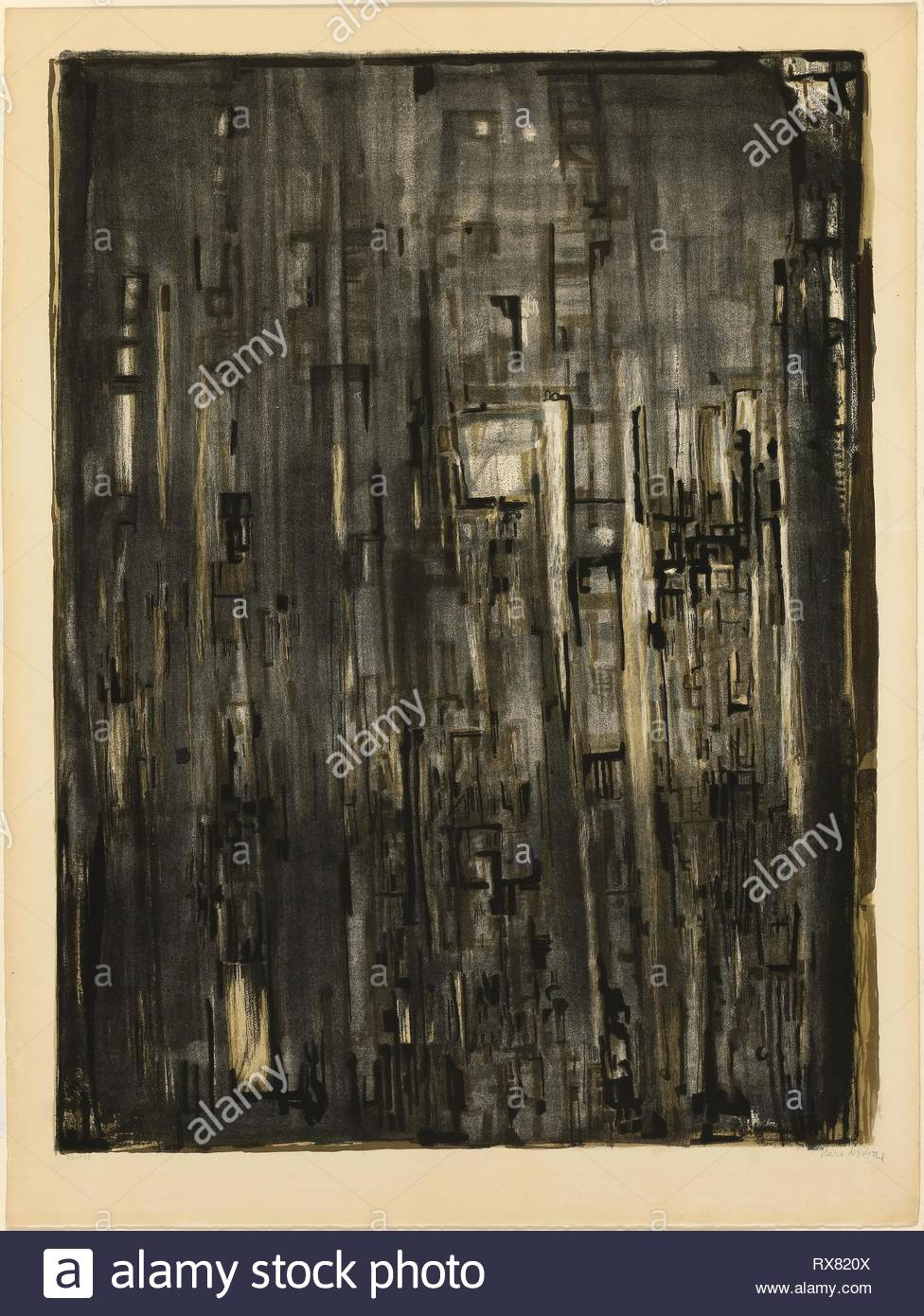 Nef. Maria Helena Vieira da Silva; French, 1908-1992. Date: 1971. Dimensions: 762 × 570 mm (image); 848 × 634 mm (sheet). Color lithograph on ivory wove paper. Origin: France. Museum: The Chicago Art Institute. - Stock Image