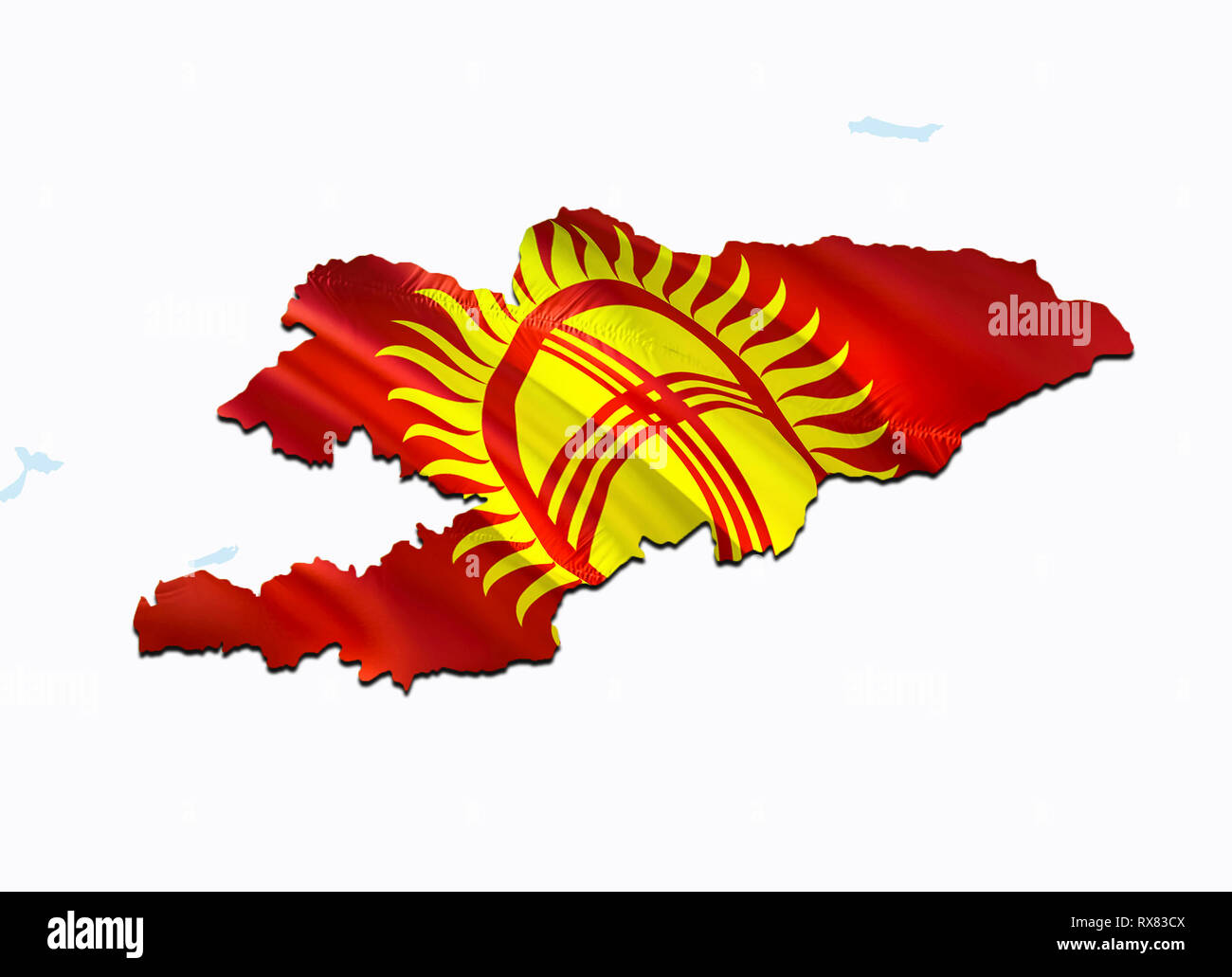 Map Of Asia Kyrgyzstan.Flag Map Of Kyrgyzstan 3d Rendering Kyrgyzstan Map And Flag On Asia
