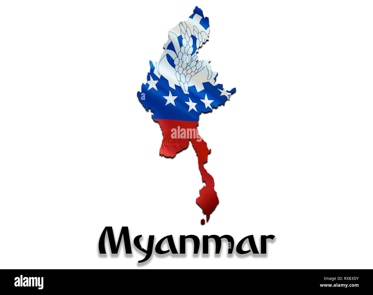 Myanmar Map Flag. 3D rendering Myanmar map and flag on Asia map. The national symbol of Myanmar. Burma flag on Asia background. National Myanmar wavin - Stock Image