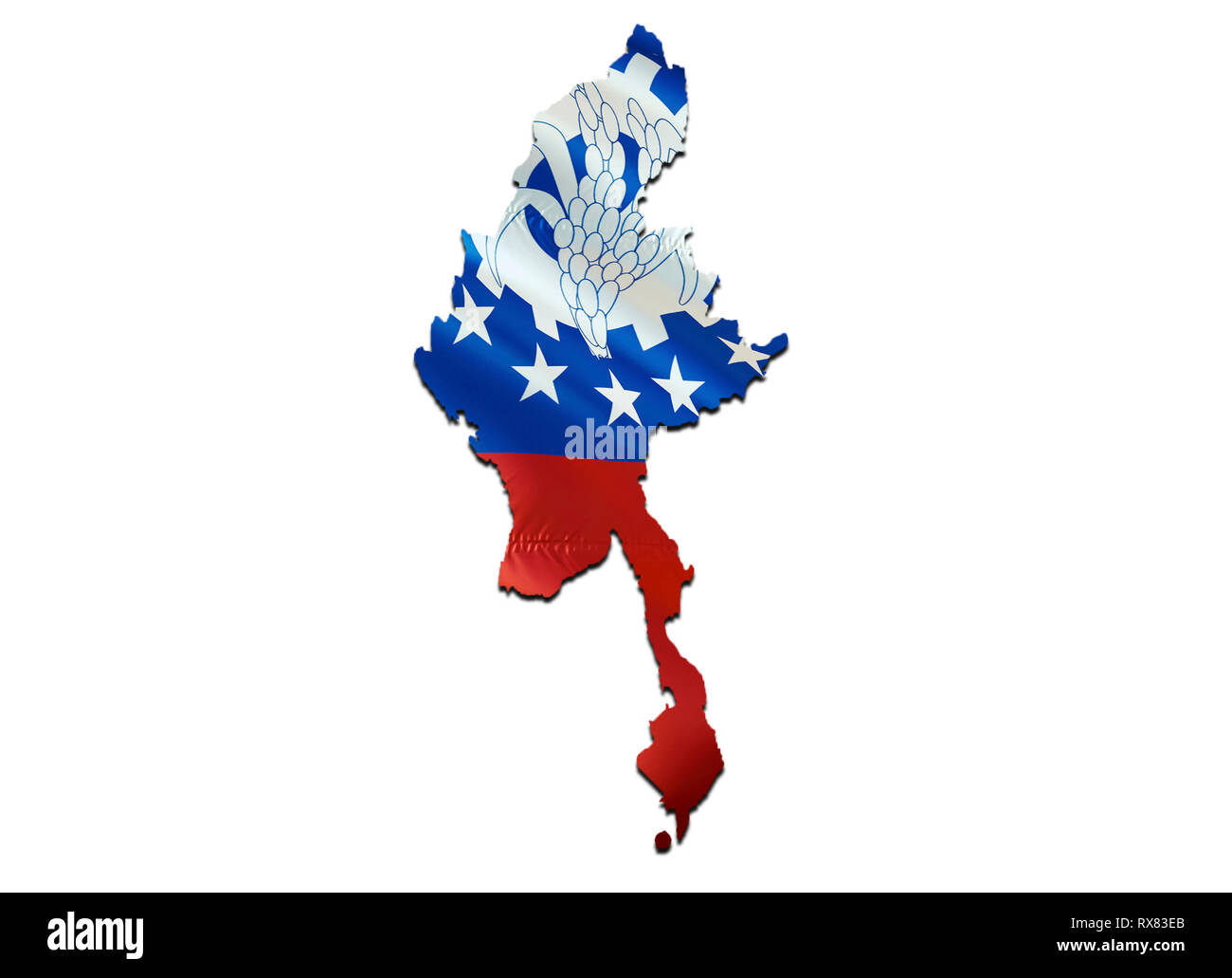 Map on Myanmar waving Flag. 3D rendering Myanmar map and waving flag on Asia map. The national symbol of Myanmar. Myanmar flag on Asia background. Nat - Stock Image