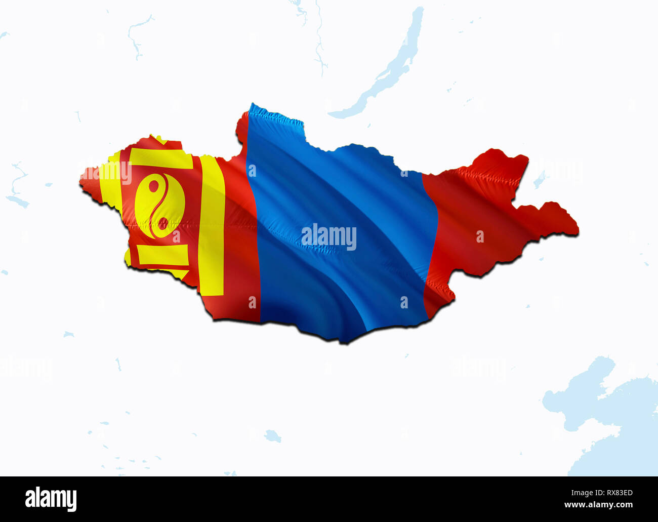 Flag Map of Mongolia. 3D rendering Mongolia map and flag on Asia map. The national symbol of Mongolia. Ulaanbaatar flag on Asia background. National M - Stock Image