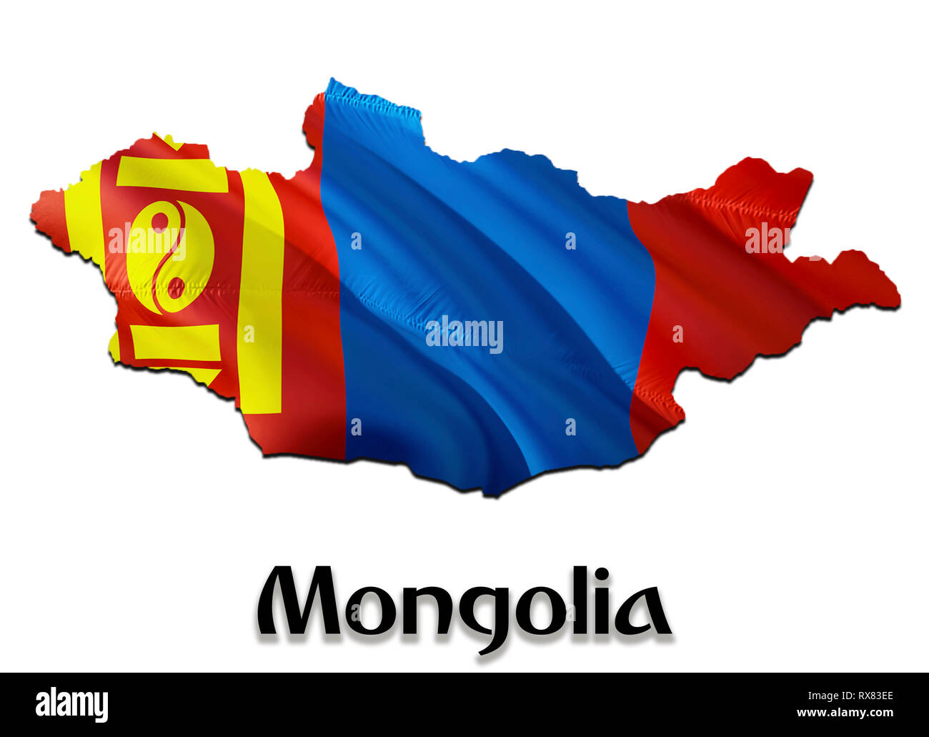 Mongolia Map Flag. 3D rendering Mongolia map and flag on Asia map. The national symbol of Mongolia. Ulaanbaatar flag on Asia background. National Mong - Stock Image