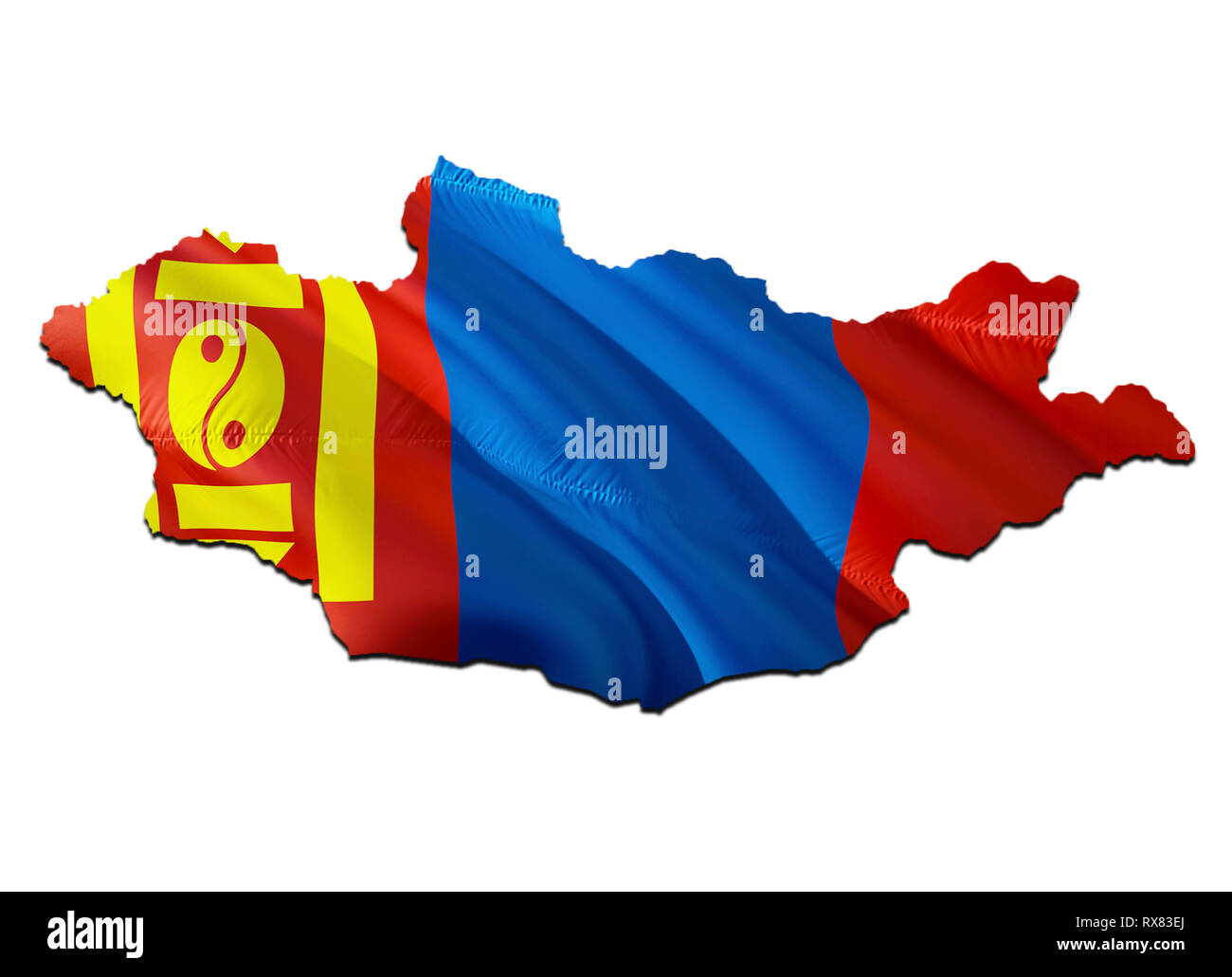 Map on Mongolia waving Flag. 3D rendering Mongolia map and waving flag on Asia map. The national symbol of Mongolia. Mongolia flag on Asia background. - Stock Image