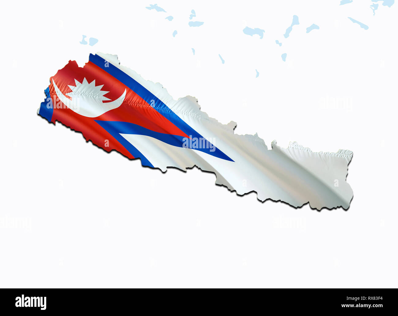 Flag Map of Nepal. 3D rendering Nepal map and flag on Asia ...