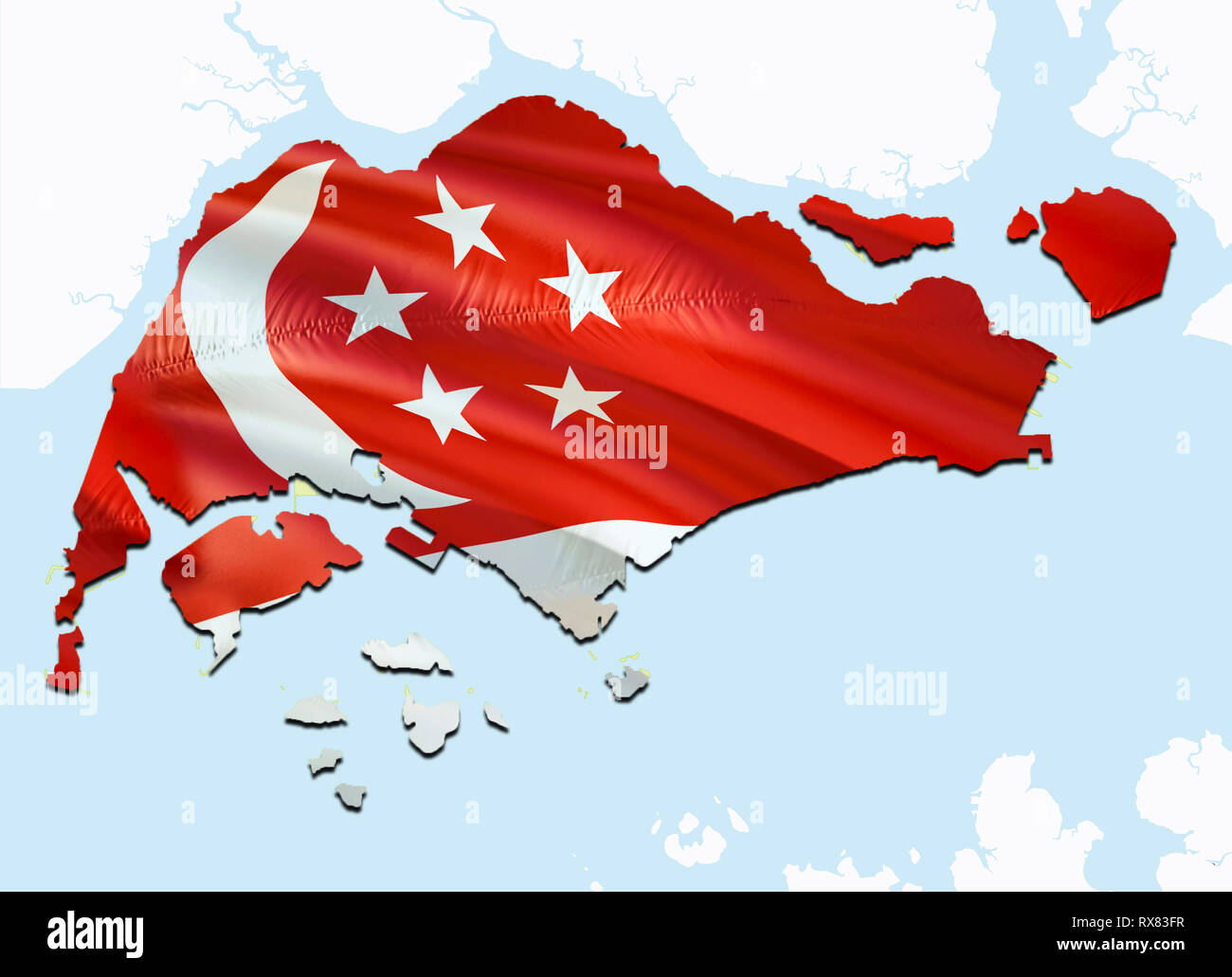 Flag Map of Singapore. 3D rendering Singapore map and flag ...