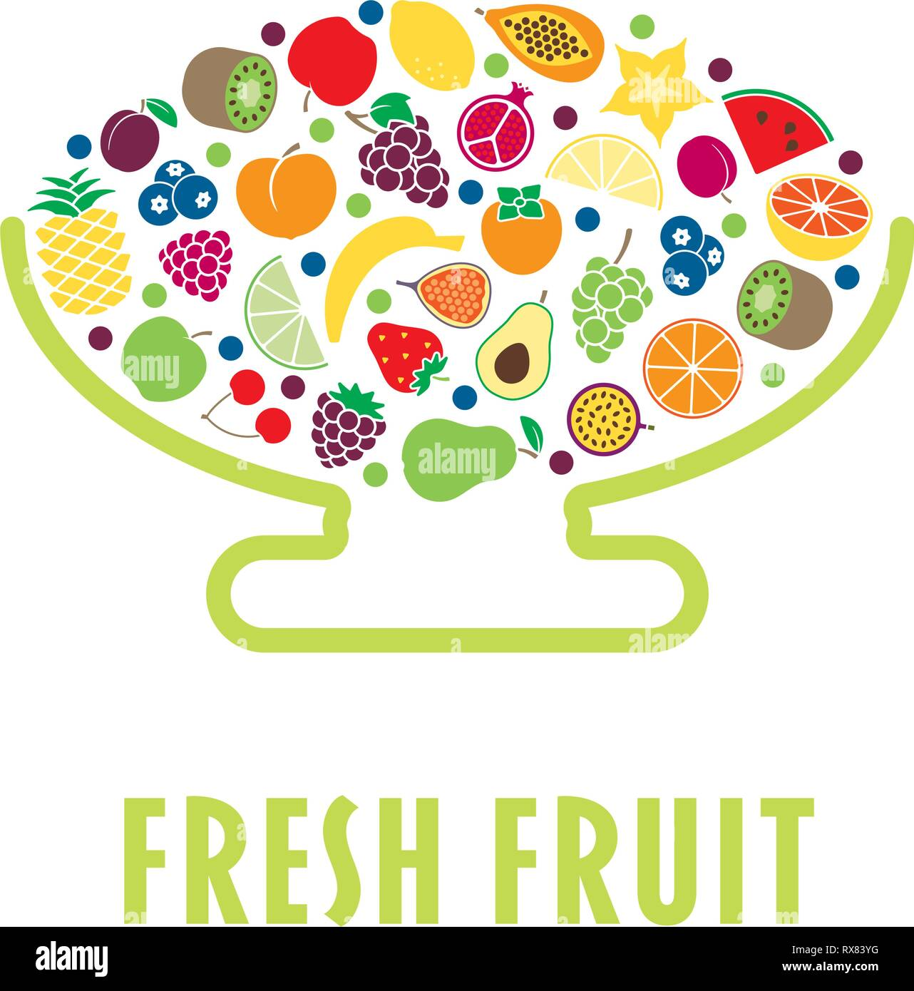 Stylised bowl with a variety of fruit flat vector illustration - Stock Vector