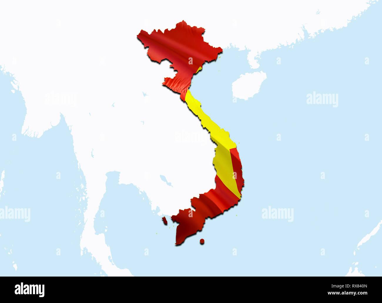 Ha Noi Vietnam Map.Flag Map Of Vietnam 3d Rendering Vietnam Map And Flag On Asia Map
