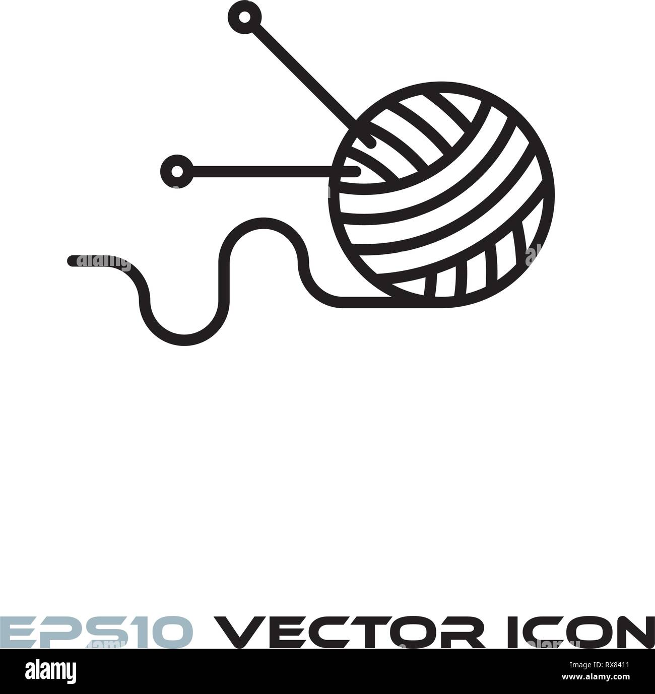 Ball of wool with knitting needles line icon vector illustration - Stock Vector
