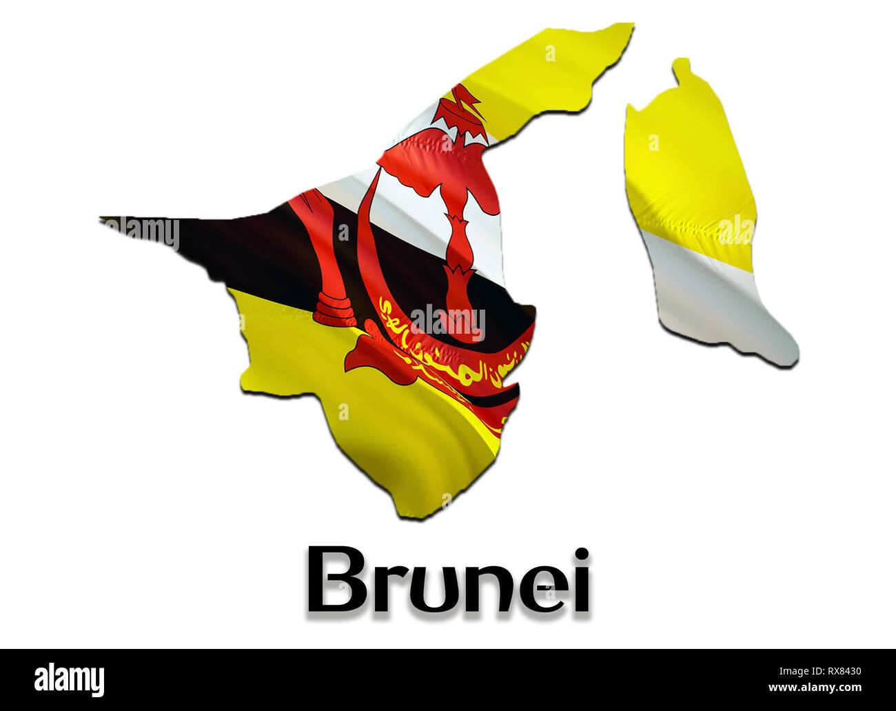 Brunei Map Flag. 3D rendering Brunei map and flag on Asia map. The national symbol of Brunei. Bandar Seri Begawan flag on Asia background. National Br - Stock Image