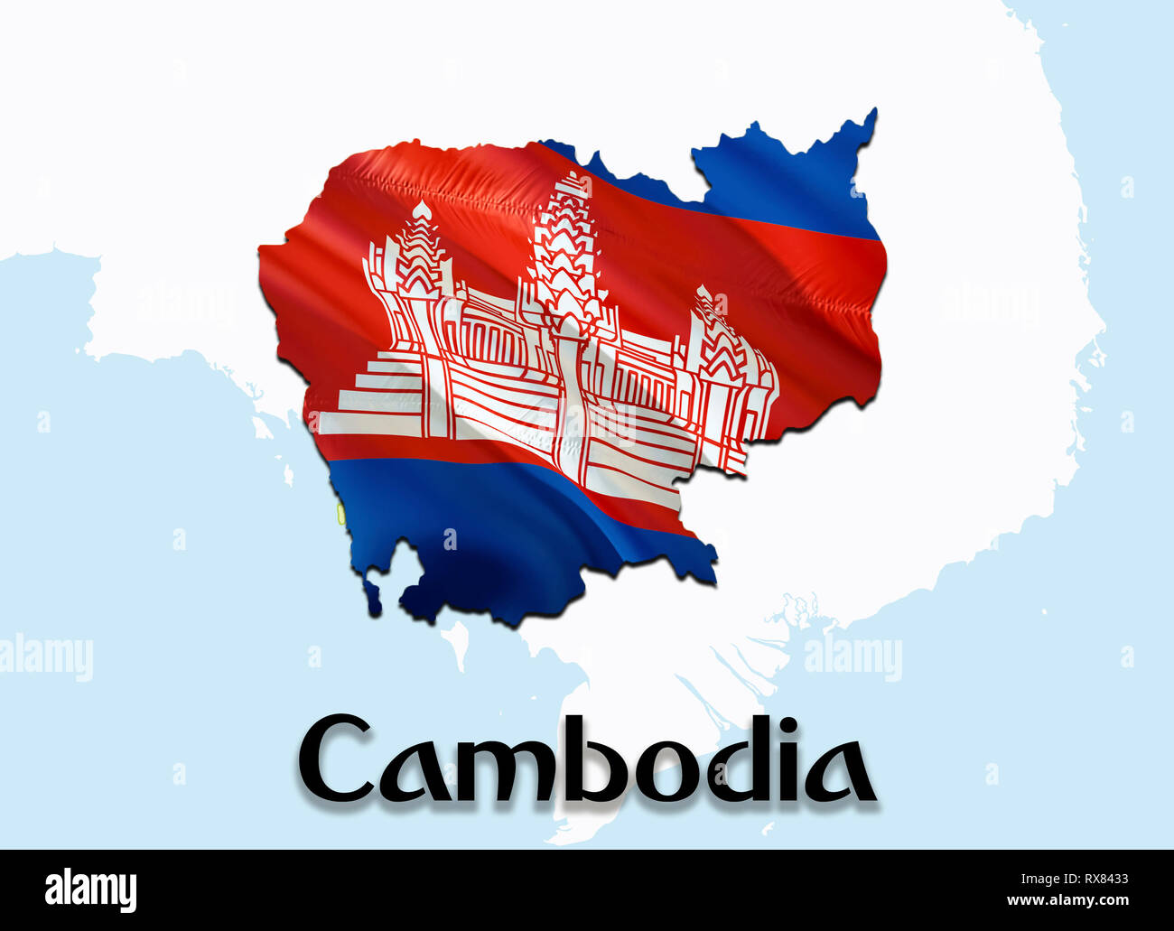 Flag Map of Cambodia. 3D rendering Cambodia map and flag on ...
