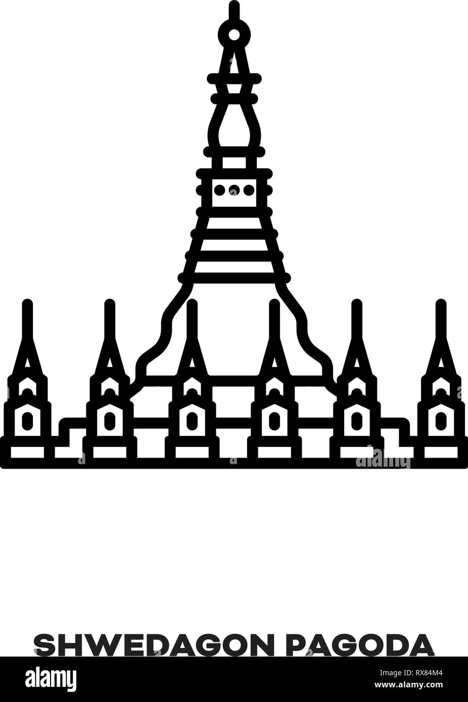 Shwedagon Pagoda at Yangon, Myanmar line icon vector. International landmark and tourism symbol. - Stock Vector