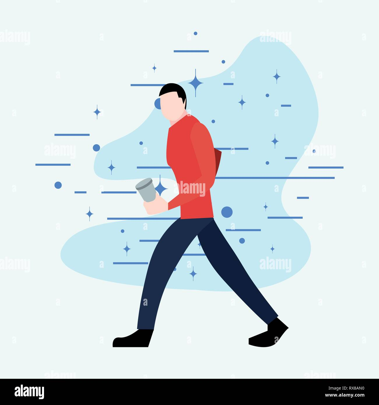 man walking with disposable cup activity vector illustration - Stock Vector