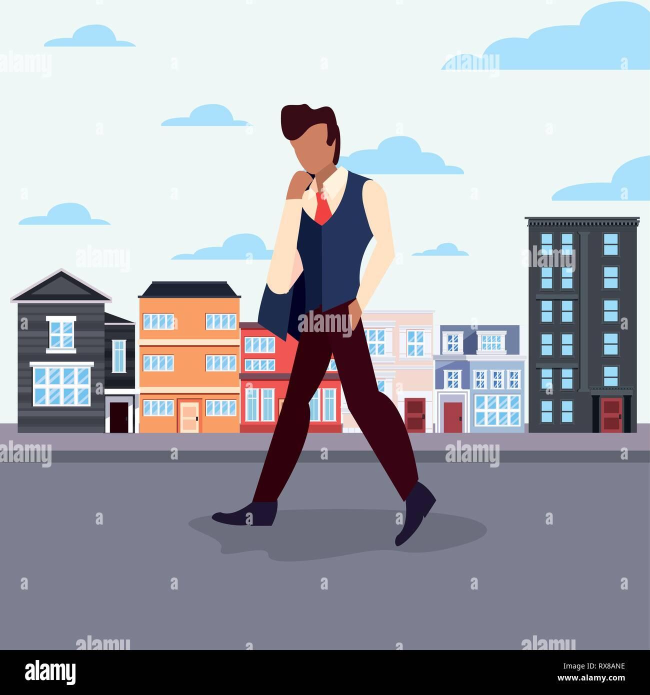 man walking in the city street activity vector illustration - Stock Vector