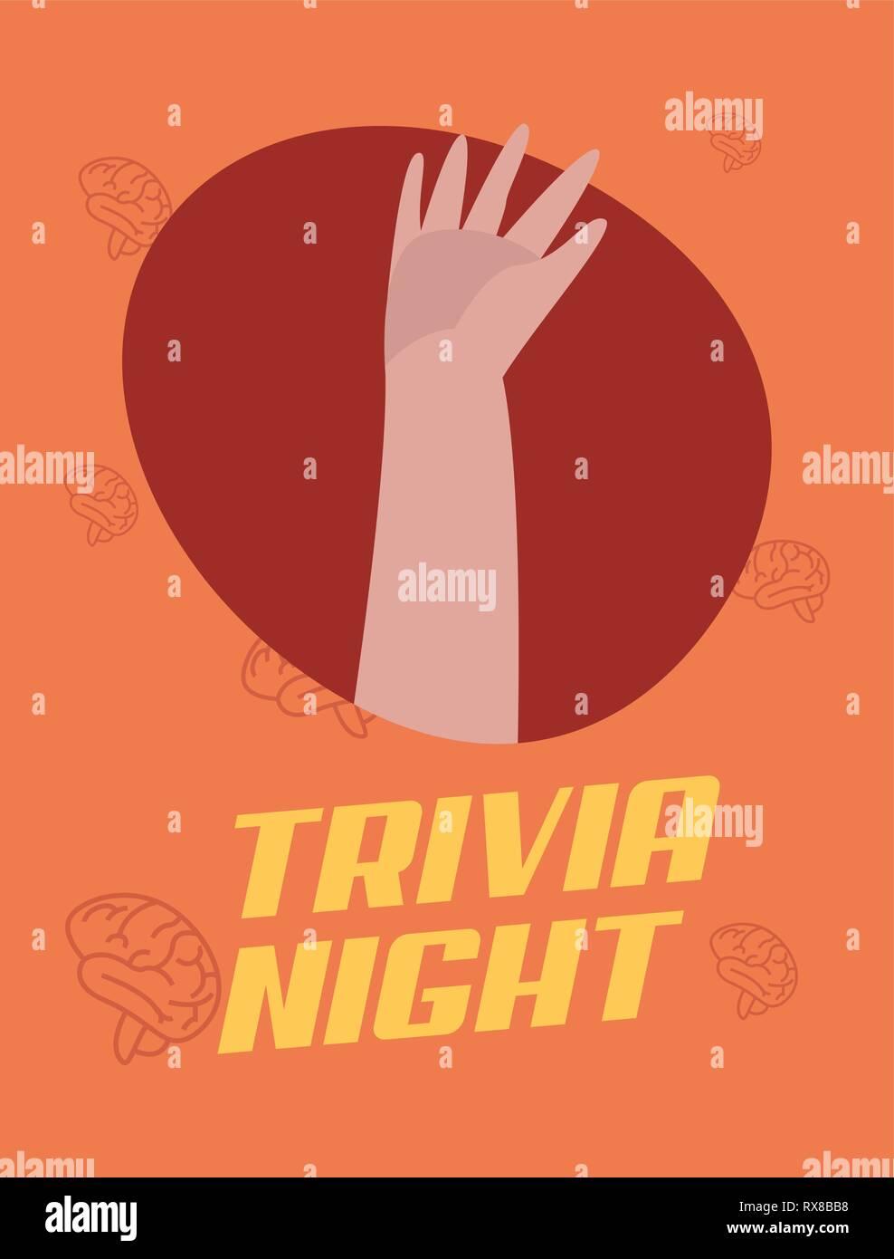 trivia night hand up brains background vector illustration - Stock Image