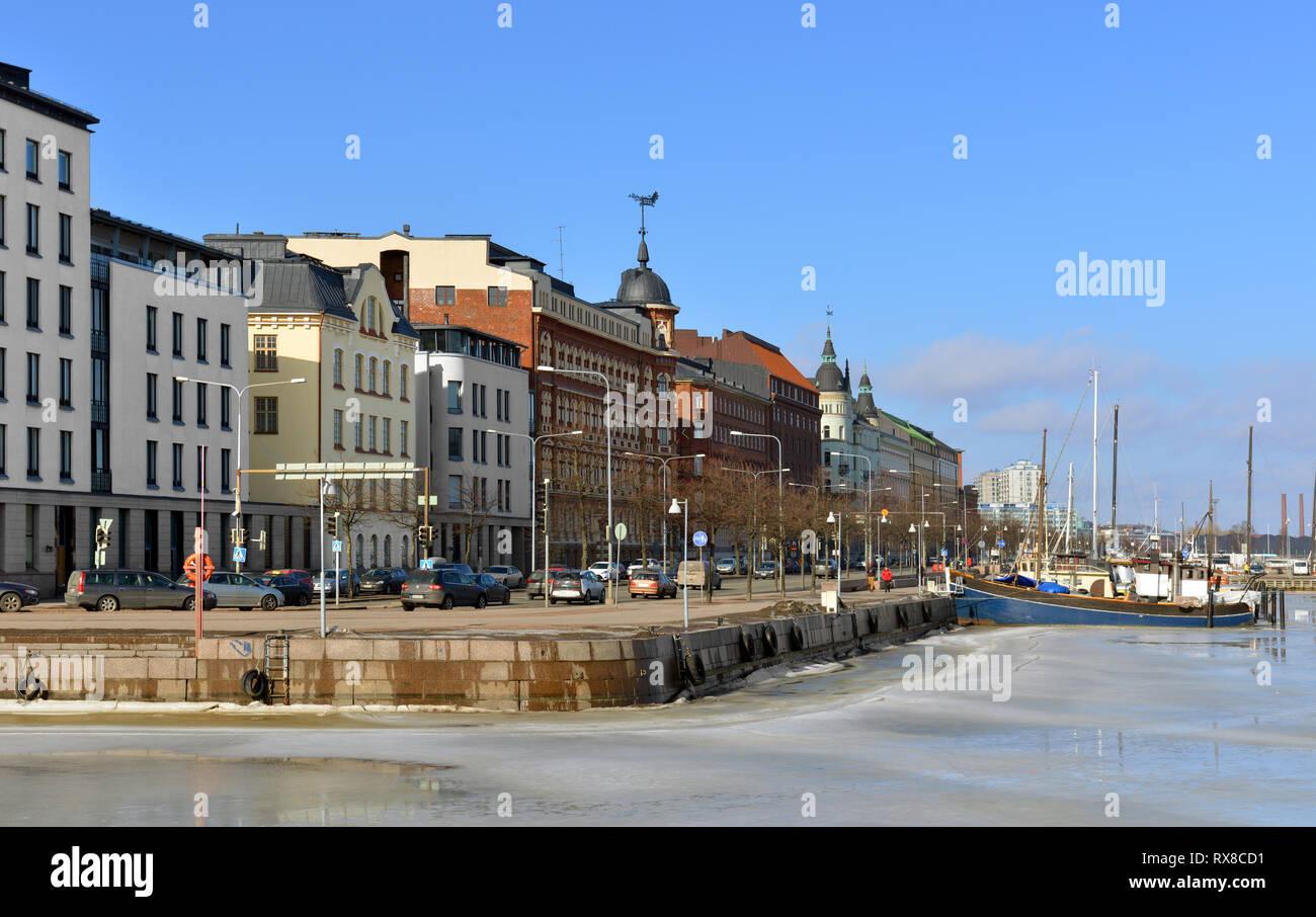 Pohjoisranta embankment in sunny spring day - Stock Image