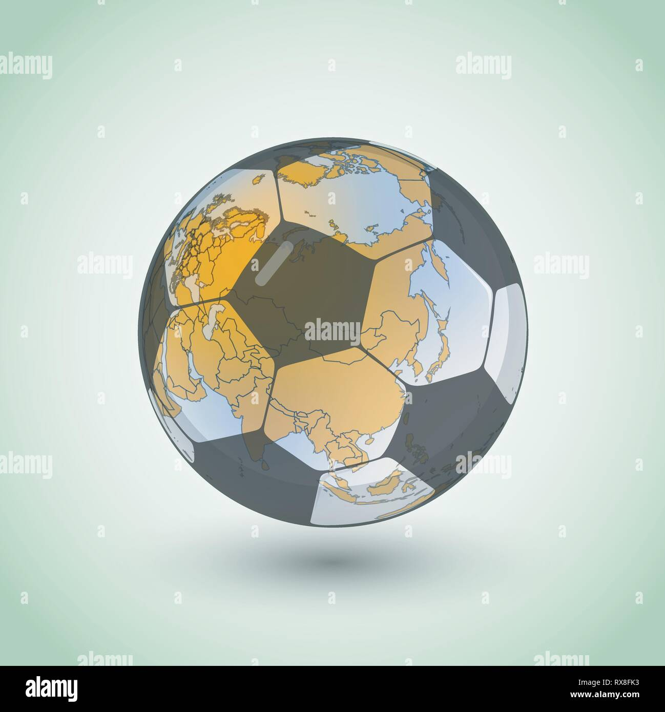 Football world continent map. Vector territory scheme made from soccer ball - Stock Vector