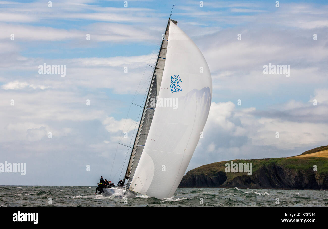 Crosshaven, Cork, Ireland. 14th July, 2010.  American yacht encore going through her paces during racing for Ford Week in Crosshaven, Co. Cork, Irelan - Stock Image