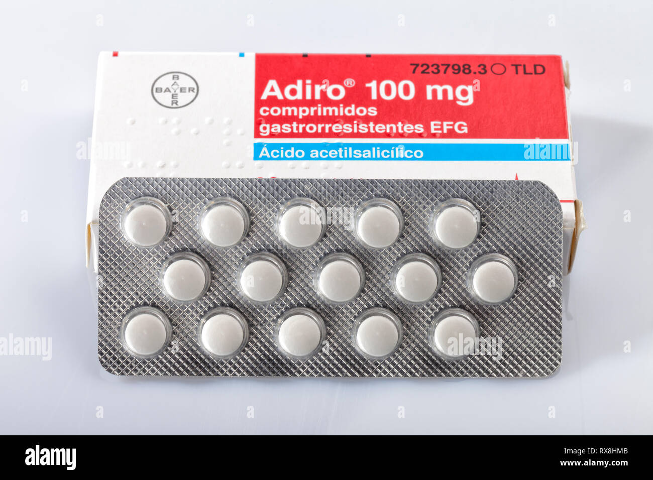 A box of acetylsalicylic acid Adiro tablets of the Bayer brand isolated on white. Infantile aspirin. Photo taken in Madrid, Spain, on March 8, 2019. - Stock Image