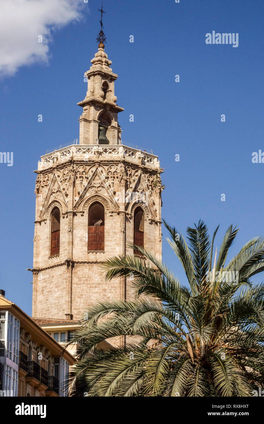 Cathedral Tower Valencia, medieval El Micalet tower, Plaza de la Reina, Old Town, Spain Stock Photo
