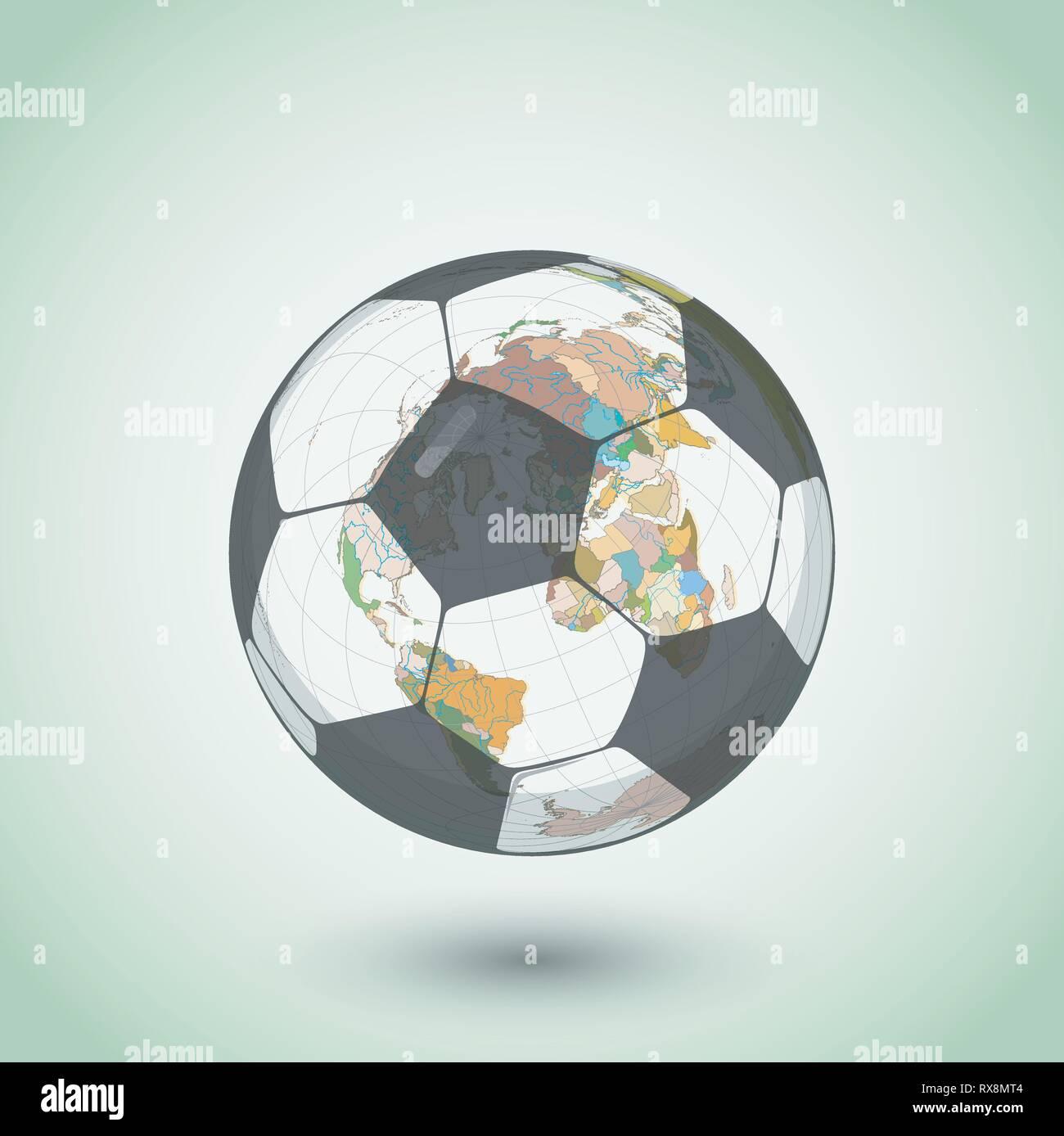 Vector football ball with globe - Stock Vector