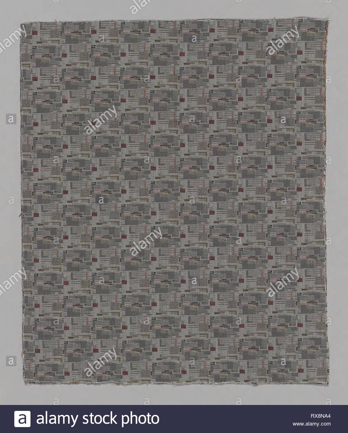 Rennie (Furnishing Fabric). Designed by Ben Rose (American, 1916-2004); Produced by Ben Rose, Inc. (United States, Illinois, Chicago); Manufactured by Langenthal Mills; Switzerland. Date: 1992. Dimensions: 70 × 58.6 cm (27 1/2 × 23 1/8 in.)  Repeat: 8.7 × 11.2 cm (3 3/8 × 4 3/8 in.). Nylon, cotton, wool and rayon, complementary warp and weft plain weave. Origin: Chicago. Museum: The Chicago Art Institute. - Stock Image