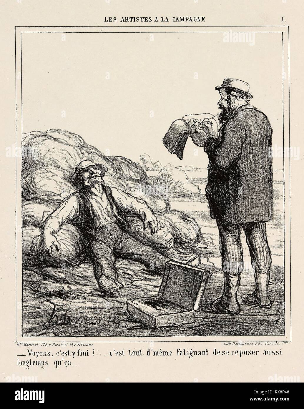 '- Well, are you finally finished?... after all it's tiring to relax for such a long time,' plate 1 from Les Artistes A La Campagne. Honoré Victorin Daumier; French, 1808-1879. Date: 1865. Dimensions: 230 × 200 mm (image); 362 × 273 mm (sheet). Lithograph in black on ivory wove paper. Origin: France. Museum: The Chicago Art Institute. Author: Honoré-Victorin Daumier. - Stock Image