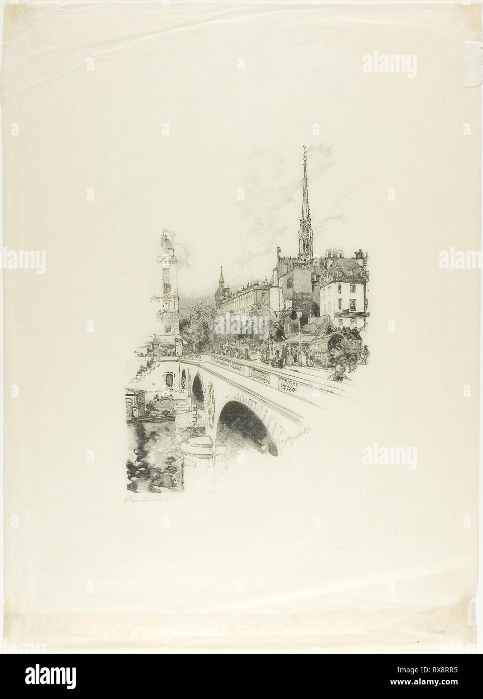 Le Pont Saint-Michel. Louis Auguste Lepère; French, 1849-1918. Date: 1890. Dimensions: 235 × 162 mm (image); 429 × 315 mm (sheet, folded). Wood engraving in black on cream laid Japanese tissue. Origin: France. Museum: The Chicago Art Institute. - Stock Image